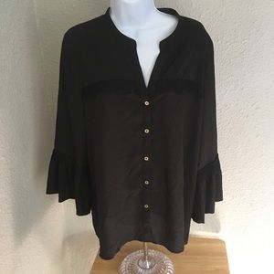 Karl Lagerfield Black Button Down Women's Size L